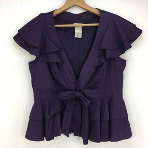Elevenses Anthropologie Purple Ruffle Bow Blazer